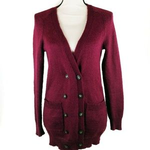 Madewell Wallace Cardigan Small Maroon Button Down
